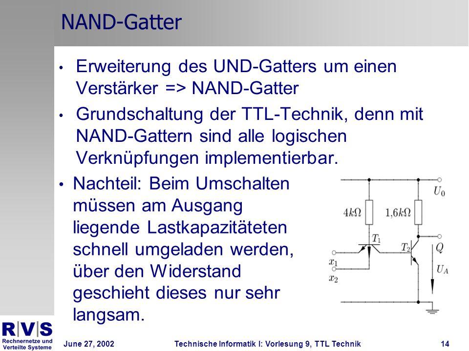 June 27, 2002Technische Informatik I: Vorlesung 9, TTL Technik14 NAND-Gatter Erweiterung des UND-Gatters um einen Verstärker => NAND-Gatter Grundschal