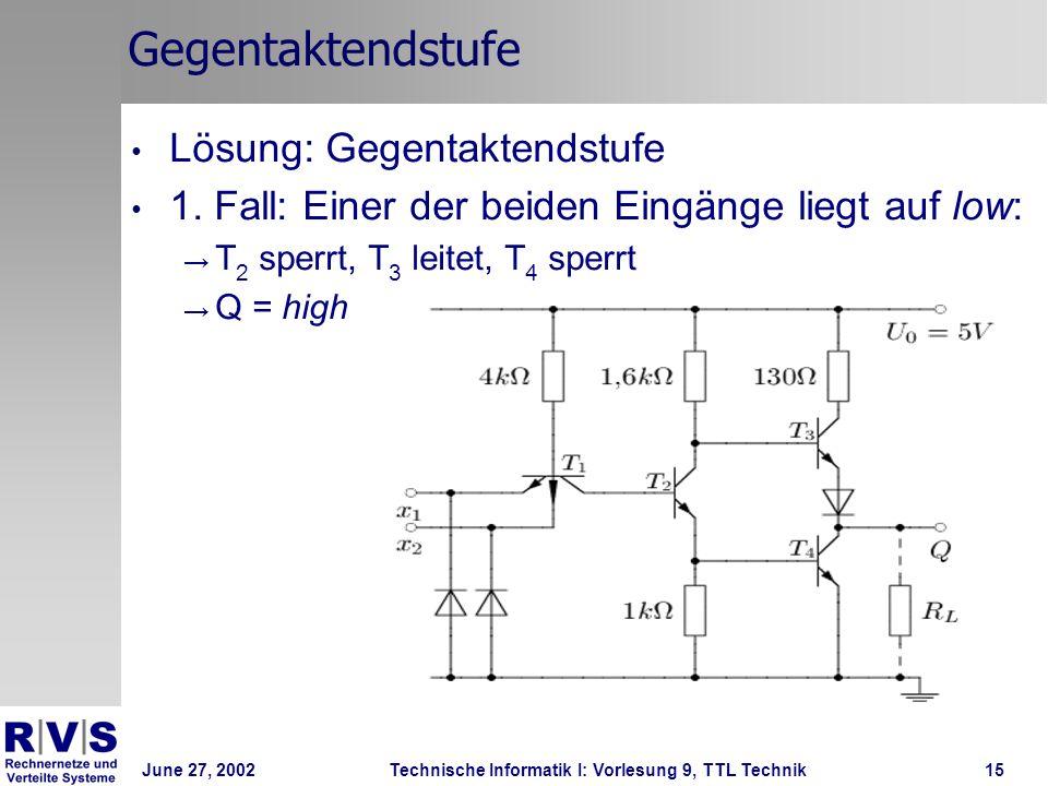 June 27, 2002Technische Informatik I: Vorlesung 9, TTL Technik15 Gegentaktendstufe Lösung: Gegentaktendstufe 1. Fall: Einer der beiden Eingänge liegt
