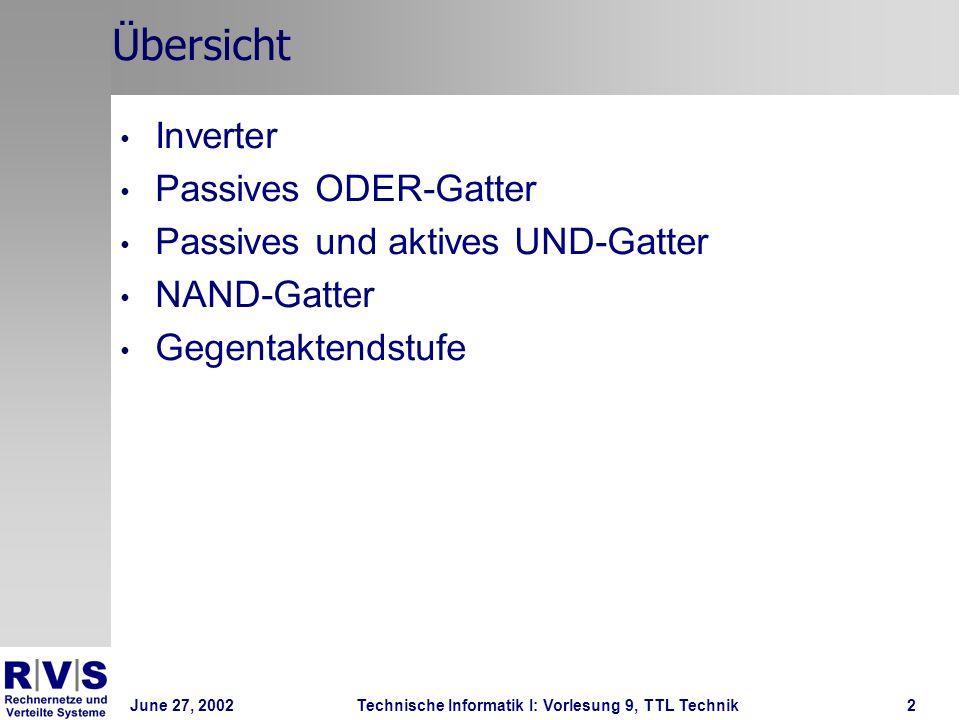 June 27, 2002Technische Informatik I: Vorlesung 9, TTL Technik2 Übersicht Inverter Passives ODER-Gatter Passives und aktives UND-Gatter NAND-Gatter Ge