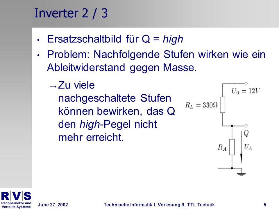 June 27, 2002Technische Informatik I: Vorlesung 9, TTL Technik6 Inverter 3/ 3 Ersatzschaltbild für Q = low Problem: Nachfolgende Stufen können Spannung hereindrücken.