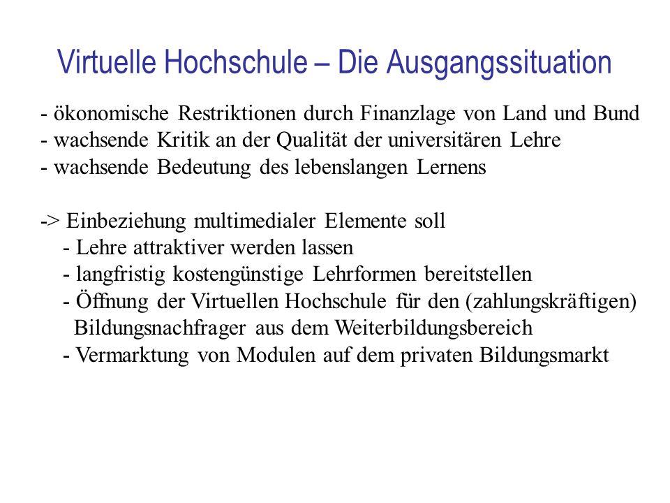 Virtuelle Hochschule – Die Ausgangssituation - ökonomische Restriktionen durch Finanzlage von Land und Bund - wachsende Kritik an der Qualität der uni