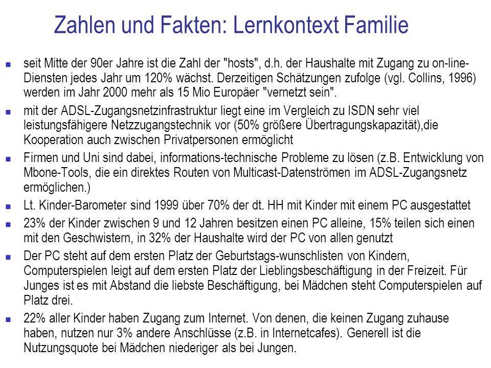 Zahlen und Fakten: Lernkontext Familie seit Mitte der 90er Jahre ist die Zahl der