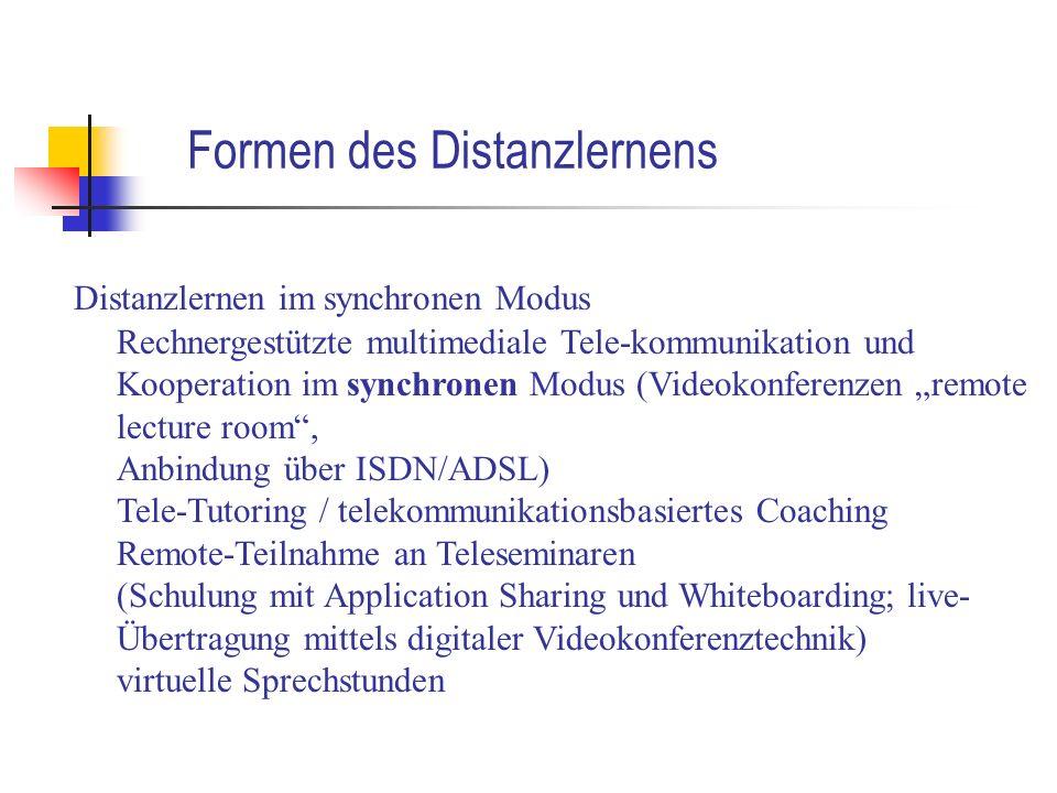 Formen des Distanzlernens Distanzlernen im synchronen Modus Rechnergestützte multimediale Tele-kommunikation und Kooperation im synchronen Modus (Vide