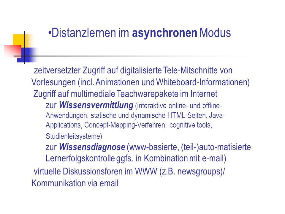 zeitversetzter Zugriff auf digitalisierte Tele-Mitschnitte von Vorlesungen (incl. Animationen und Whiteboard-Informationen) Zugriff auf multimediale T