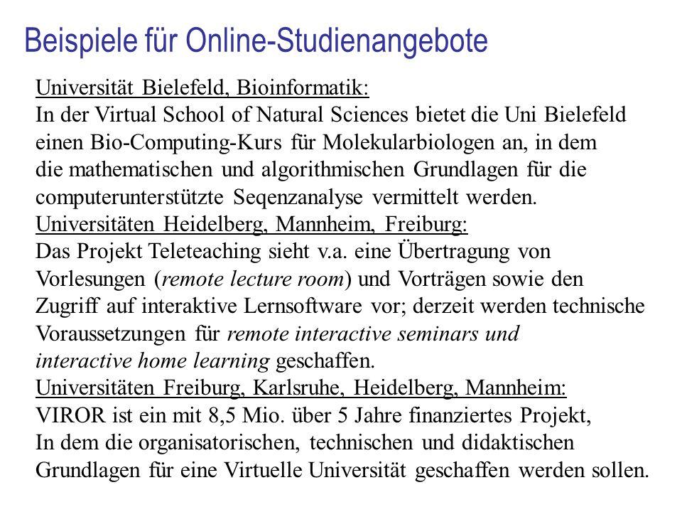 Beispiele für Online-Studienangebote Universität Bielefeld, Bioinformatik: In der Virtual School of Natural Sciences bietet die Uni Bielefeld einen Bi