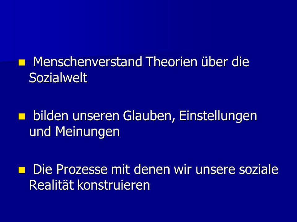 Menschenverstand Theorien über die Sozialwelt Menschenverstand Theorien über die Sozialwelt bilden unseren Glauben, Einstellungen und Meinungen bilden