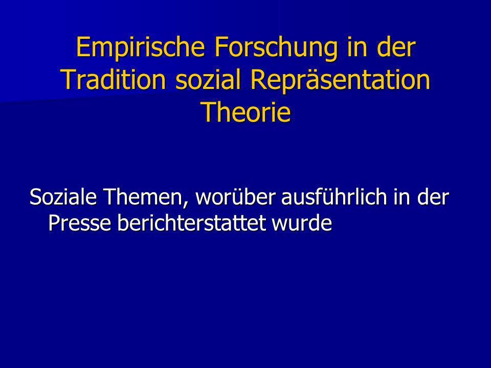 Empirische Forschung in der Tradition sozial Repräsentation Theorie Soziale Themen, worüber ausführlich in der Presse berichterstattet wurde