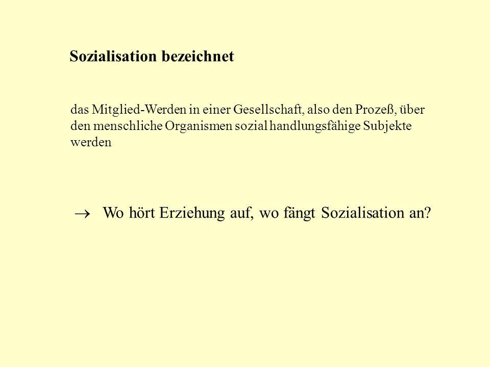Sozialisation bezeichnet das Mitglied-Werden in einer Gesellschaft, also den Prozeß, über den menschliche Organismen sozial handlungsfähige Subjekte w