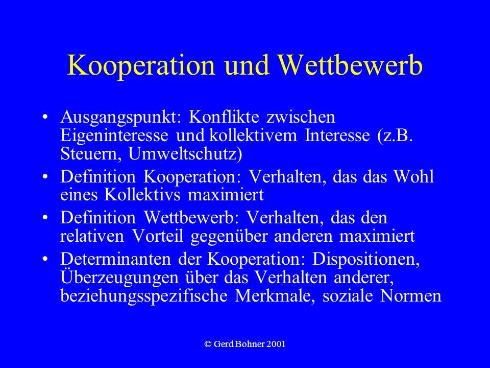 © Gerd Bohner 2001 Kooperation und Wettbewerb Ausgangspunkt: Konflikte zwischen Eigeninteresse und kollektivem Interesse (z.B.