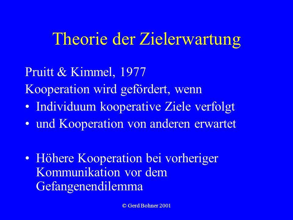 Theorie der Zielerwartung Pruitt & Kimmel, 1977 Kooperation wird gefördert, wenn Individuum kooperative Ziele verfolgt und Kooperation von anderen erwartet Höhere Kooperation bei vorheriger Kommunikation vor dem Gefangenendilemma