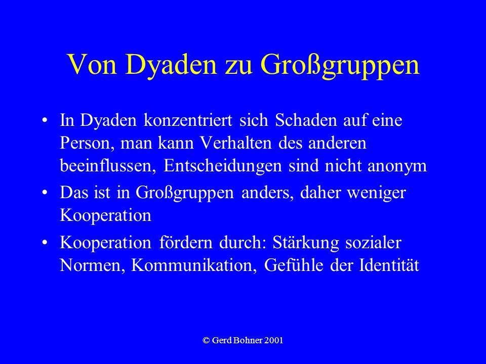 © Gerd Bohner 2001 Von Dyaden zu Großgruppen In Dyaden konzentriert sich Schaden auf eine Person, man kann Verhalten des anderen beeinflussen, Entscheidungen sind nicht anonym Das ist in Großgruppen anders, daher weniger Kooperation Kooperation fördern durch: Stärkung sozialer Normen, Kommunikation, Gefühle der Identität