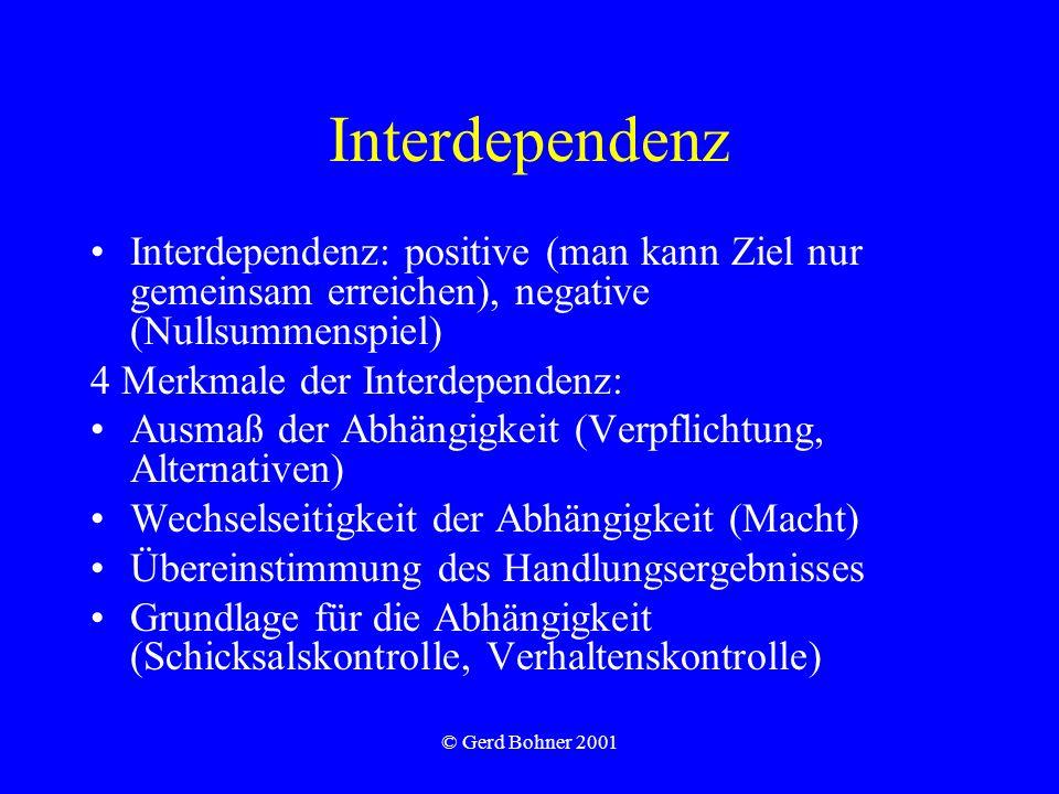 © Gerd Bohner 2001 Interdependenz Interdependenz: positive (man kann Ziel nur gemeinsam erreichen), negative (Nullsummenspiel) 4 Merkmale der Interdependenz: Ausmaß der Abhängigkeit (Verpflichtung, Alternativen) Wechselseitigkeit der Abhängigkeit (Macht) Übereinstimmung des Handlungsergebnisses Grundlage für die Abhängigkeit (Schicksalskontrolle, Verhaltenskontrolle)