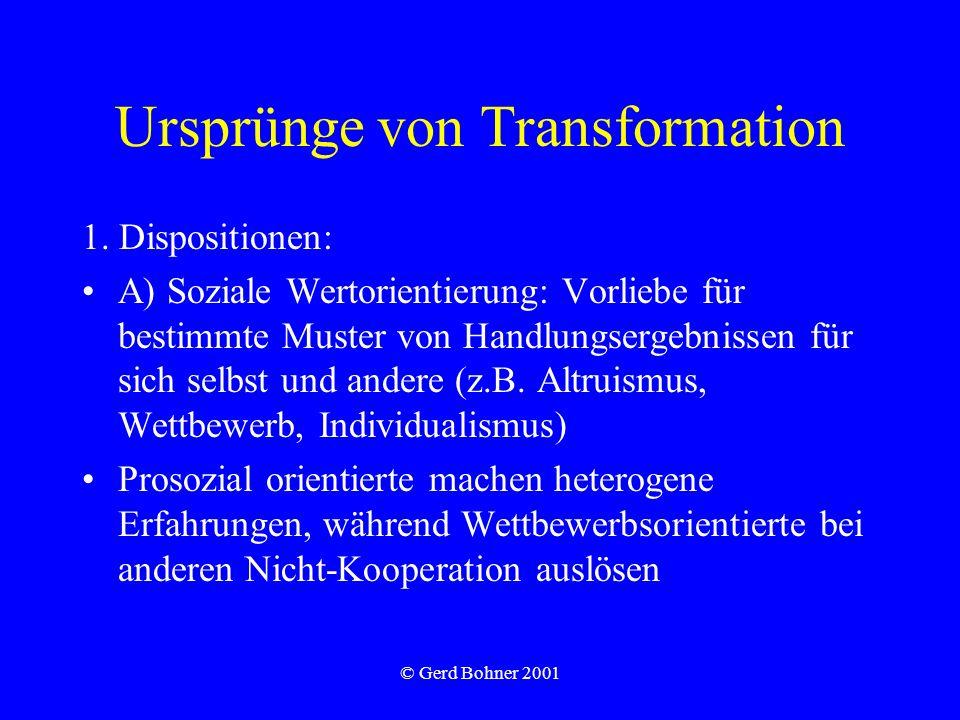 © Gerd Bohner 2001 Ursprünge von Transformation 1.