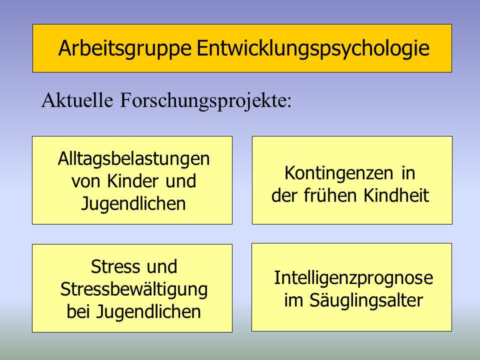Arbeitsgruppe Entwicklungspsychologie Aktuelle Forschungsprojekte: Alltagsbelastungen von Kinder und Jugendlichen Intelligenzprognose im Säuglingsalte