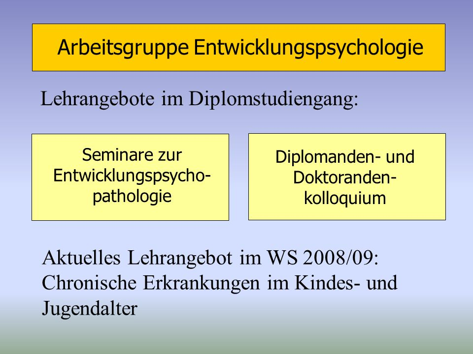 Arbeitsgruppe Entwicklungspsychologie Lehrangebote im Diplomstudiengang: Seminare zur Entwicklungspsycho- pathologie Diplomanden- und Doktoranden- kol