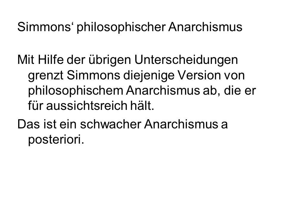 Simmons philosophischer Anarchismus Mit Hilfe der übrigen Unterscheidungen grenzt Simmons diejenige Version von philosophischem Anarchismus ab, die er
