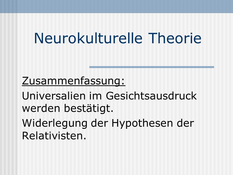 Neurokulturelle Theorie Zusammenfassung: Universalien im Gesichtsausdruck werden bestätigt. Widerlegung der Hypothesen der Relativisten.