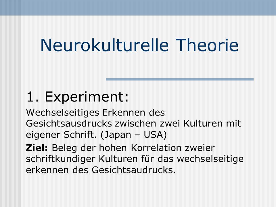 Neurokulturelle Theorie 1. Experiment: Wechselseitiges Erkennen des Gesichtsausdrucks zwischen zwei Kulturen mit eigener Schrift. (Japan – USA) Ziel: