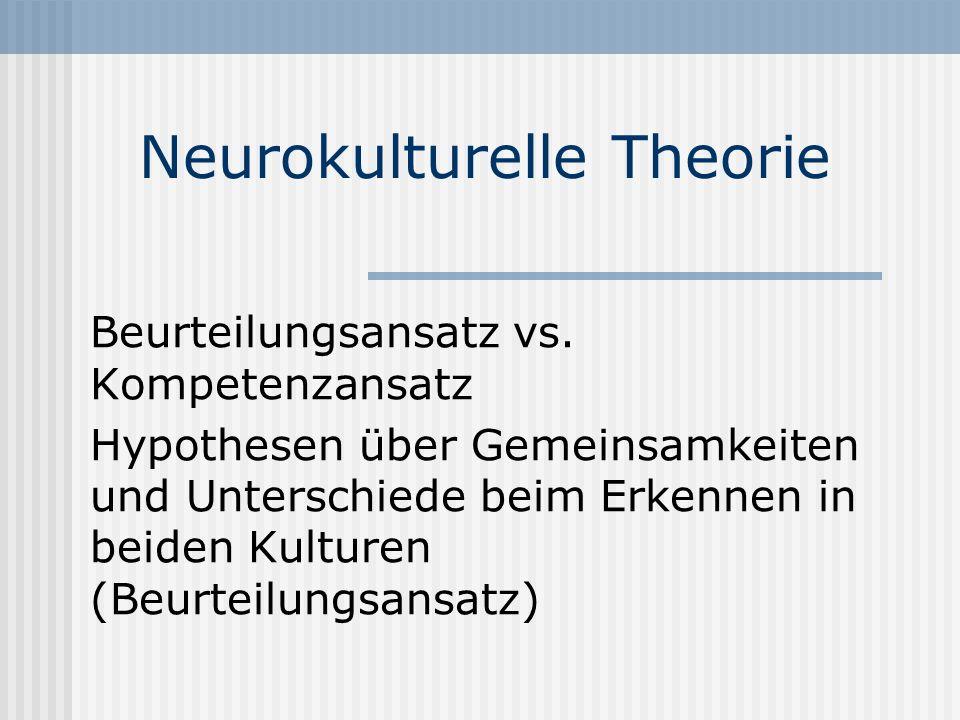 Neurokulturelle Theorie Beurteilungsansatz vs. Kompetenzansatz Hypothesen über Gemeinsamkeiten und Unterschiede beim Erkennen in beiden Kulturen (Beur