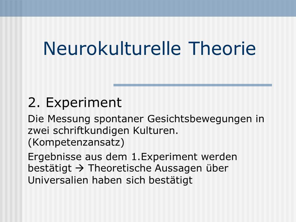 Neurokulturelle Theorie 2. Experiment Die Messung spontaner Gesichtsbewegungen in zwei schriftkundigen Kulturen. (Kompetenzansatz) Ergebnisse aus dem