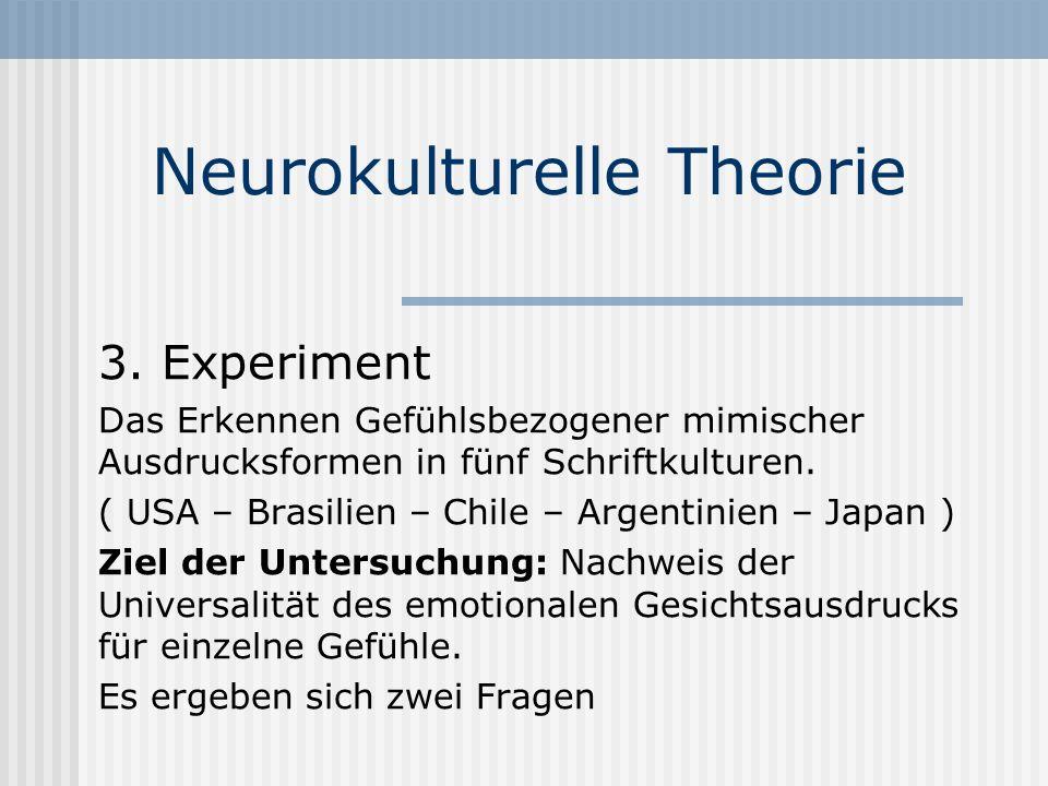 Neurokulturelle Theorie 3. Experiment Das Erkennen Gefühlsbezogener mimischer Ausdrucksformen in fünf Schriftkulturen. ( USA – Brasilien – Chile – Arg