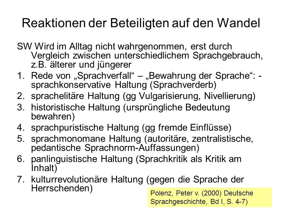 Reaktionen der Beteiligten auf den Wandel SW Wird im Alltag nicht wahrgenommen, erst durch Vergleich zwischen unterschiedlichem Sprachgebrauch, z.B.