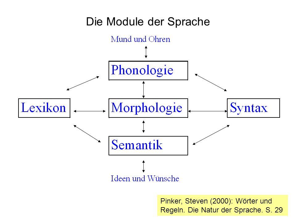 Die Module der Sprache Pinker, Steven (2000): Wörter und Regeln. Die Natur der Sprache. S. 29