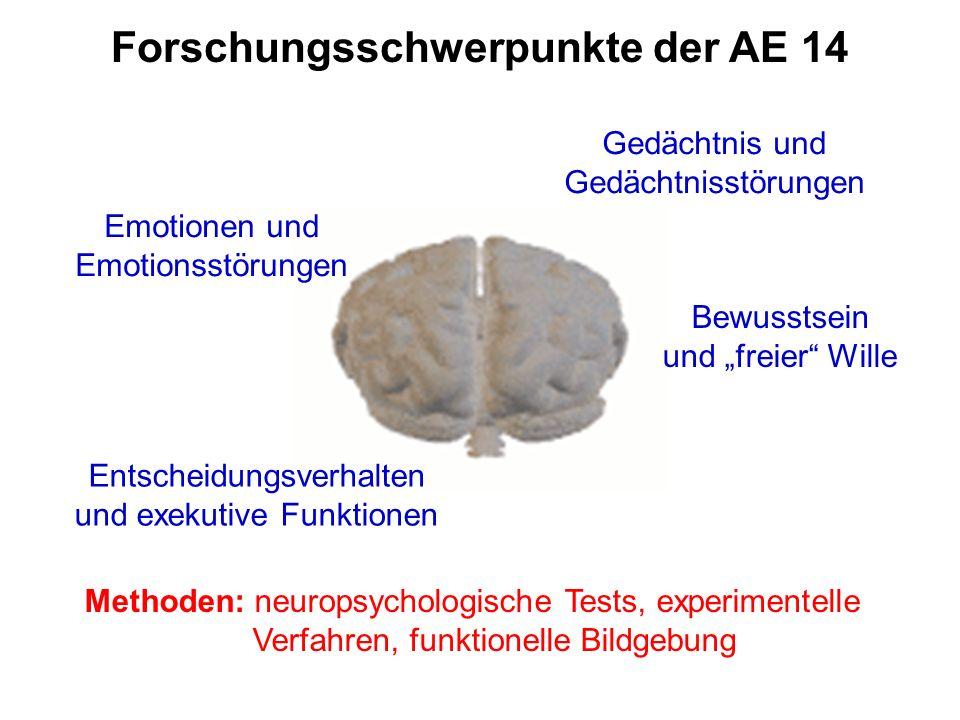 Forschungsschwerpunkte der AE 14 Gedächtnis und Gedächtnisstörungen Entscheidungsverhalten und exekutive Funktionen Emotionen und Emotionsstörungen Bewusstsein und freier Wille Methoden: neuropsychologische Tests, experimentelle Verfahren, funktionelle Bildgebung