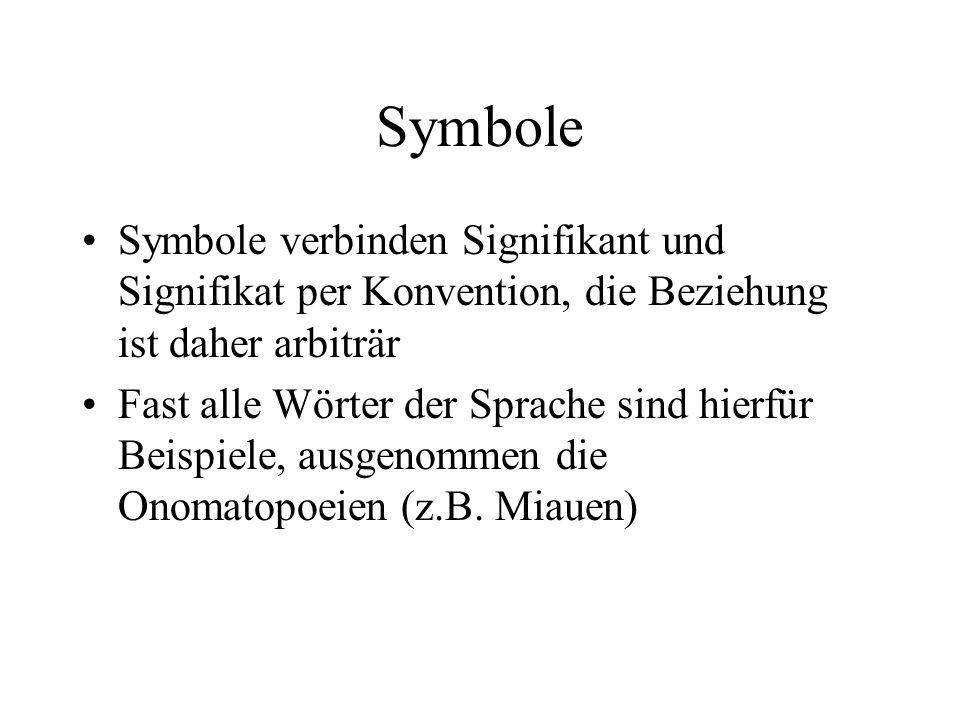Symbole Symbole verbinden Signifikant und Signifikat per Konvention, die Beziehung ist daher arbiträr Fast alle Wörter der Sprache sind hierfür Beispi