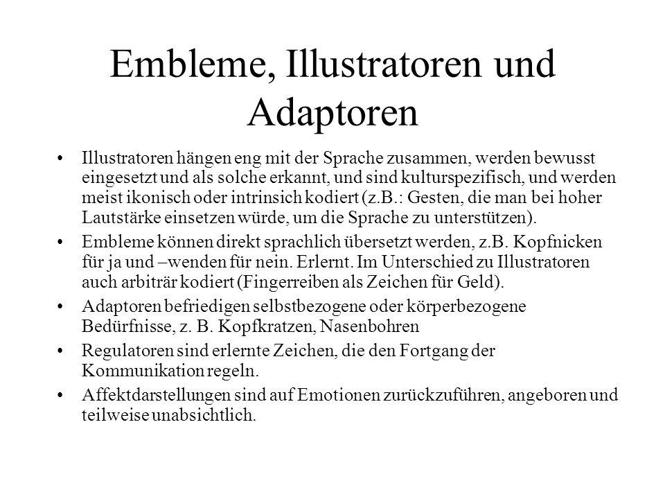 Embleme, Illustratoren und Adaptoren Illustratoren hängen eng mit der Sprache zusammen, werden bewusst eingesetzt und als solche erkannt, und sind kul