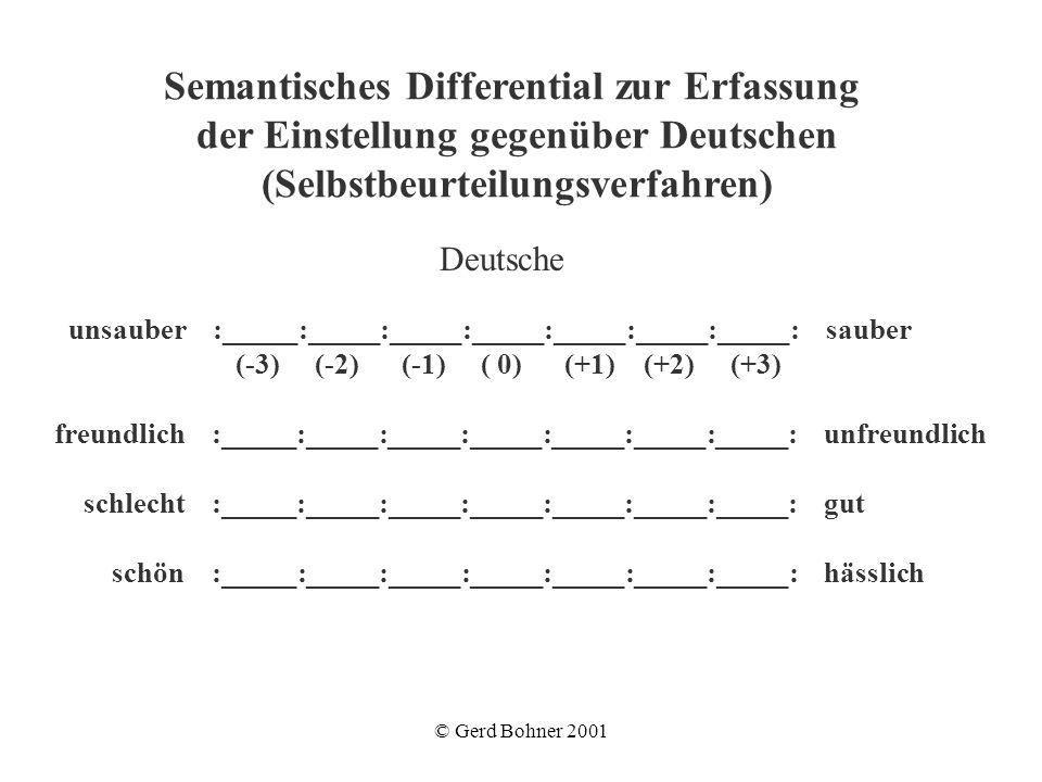 © Gerd Bohner 2001 Deutsche unsauber :_____:_____:_____:_____:_____:_____:_____: sauber (-3) (-2) (-1) ( 0) (+1) (+2) (+3) freundlich :_____:_____:___
