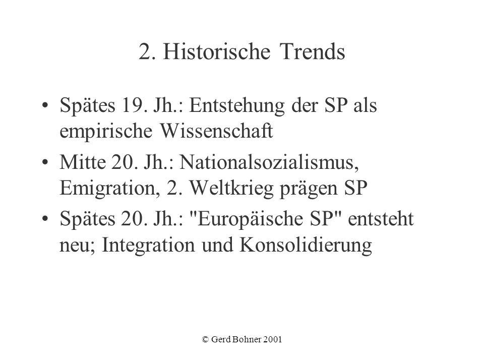 © Gerd Bohner 2001 2. Historische Trends Spätes 19. Jh.: Entstehung der SP als empirische Wissenschaft Mitte 20. Jh.: Nationalsozialismus, Emigration,