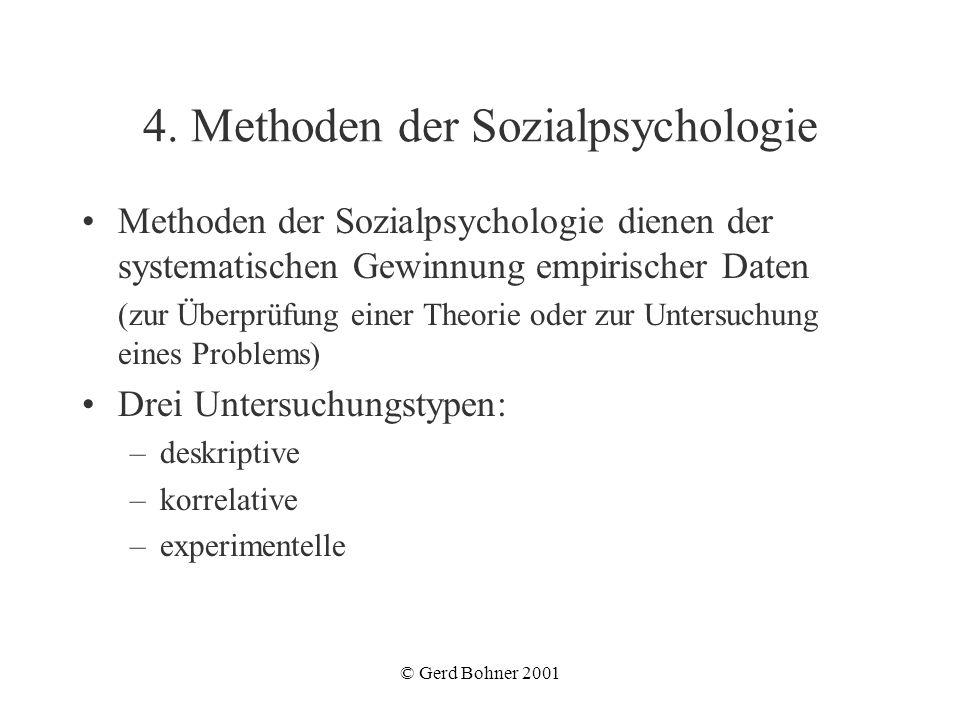 © Gerd Bohner 2001 4. Methoden der Sozialpsychologie Methoden der Sozialpsychologie dienen der systematischen Gewinnung empirischer Daten (zur Überprü