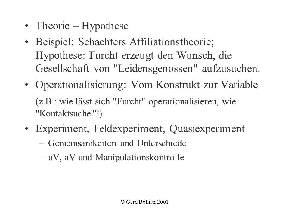 © Gerd Bohner 2001 Theorie – Hypothese Beispiel: Schachters Affiliationstheorie; Hypothese: Furcht erzeugt den Wunsch, die Gesellschaft von