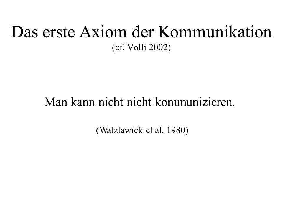 Das erste Axiom der Kommunikation (cf. Volli 2002) Man kann nicht nicht kommunizieren. (Watzlawick et al. 1980)