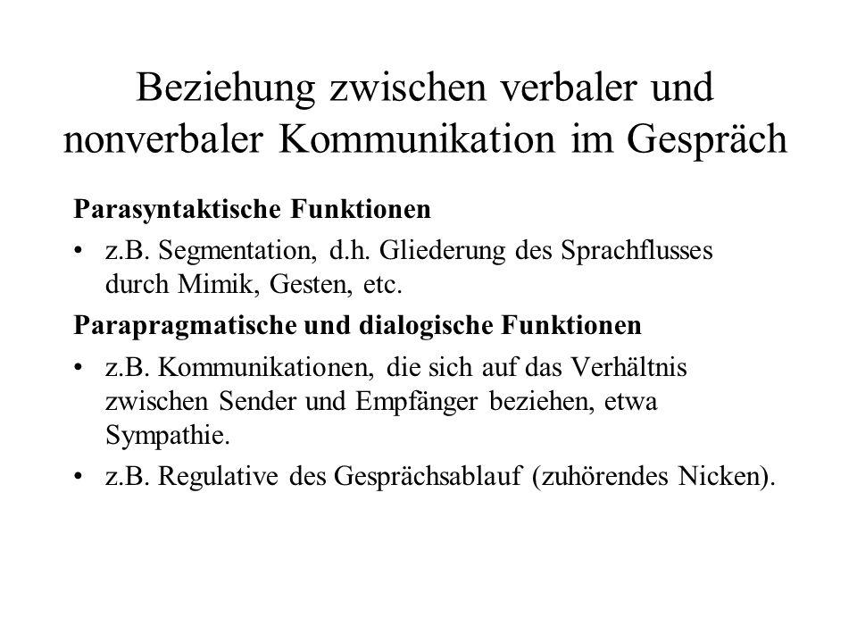 Beziehung zwischen verbaler und nonverbaler Kommunikation im Gespräch Parasyntaktische Funktionen z.B. Segmentation, d.h. Gliederung des Sprachflusses