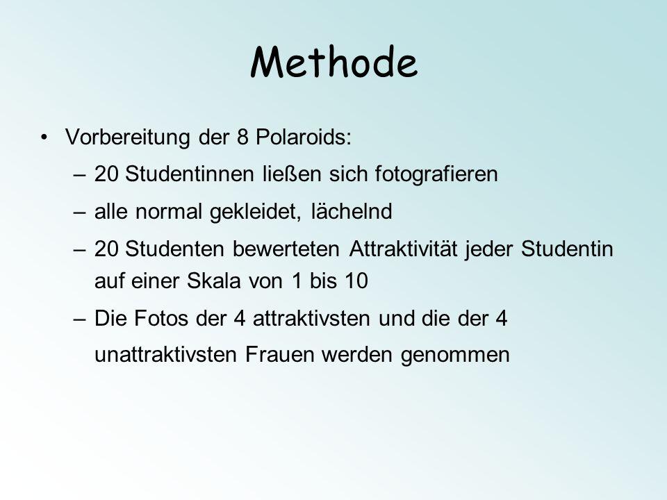 Methode Vorbereitung der 8 Polaroids: –20 Studentinnen ließen sich fotografieren –alle normal gekleidet, lächelnd –20 Studenten bewerteten Attraktivit