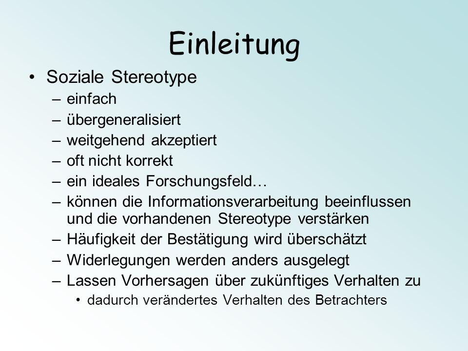 Ergebnisse Aktivierung des Stereotyps bei den Vp Frage: Männl.Vp Bild Stereotyp erster Eindruck.