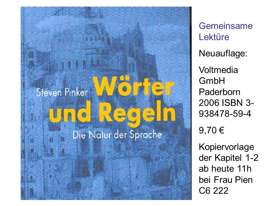 Gemeinsame Lektüre Neuauflage: Voltmedia GmbH Paderborn 2006 ISBN 3- 938478-59-4 9,70 Kopiervorlage der Kapitel 1-2 ab heute 11h bei Frau Pien C6 222