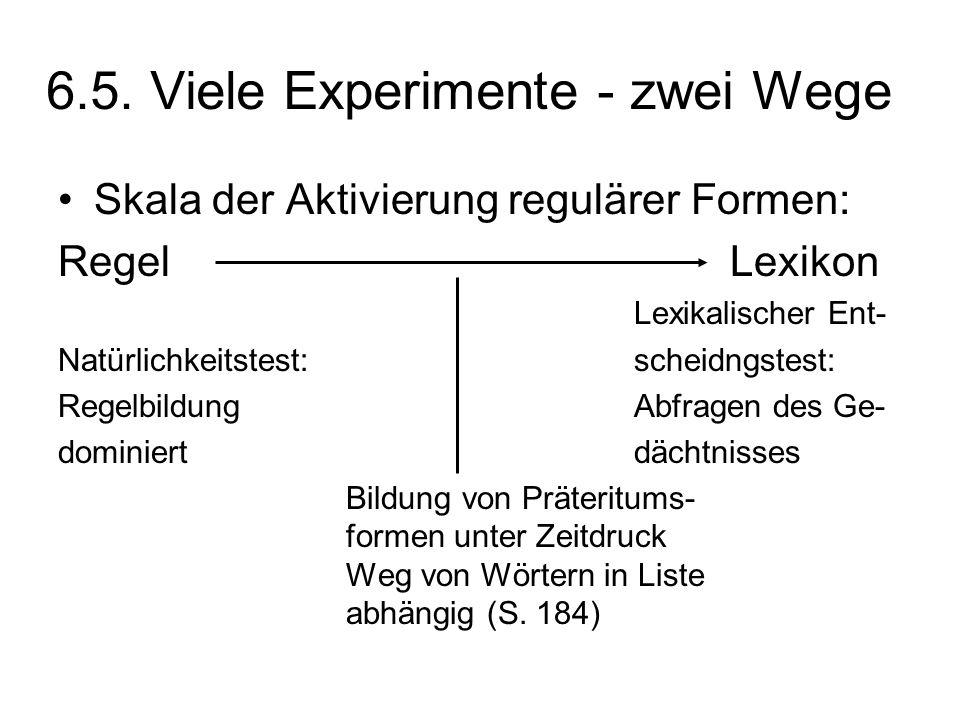 6.5. Viele Experimente - zwei Wege Skala der Aktivierung regulärer Formen: RegelLexikon Lexikalischer Ent- Natürlichkeitstest:scheidngstest: Regelbild