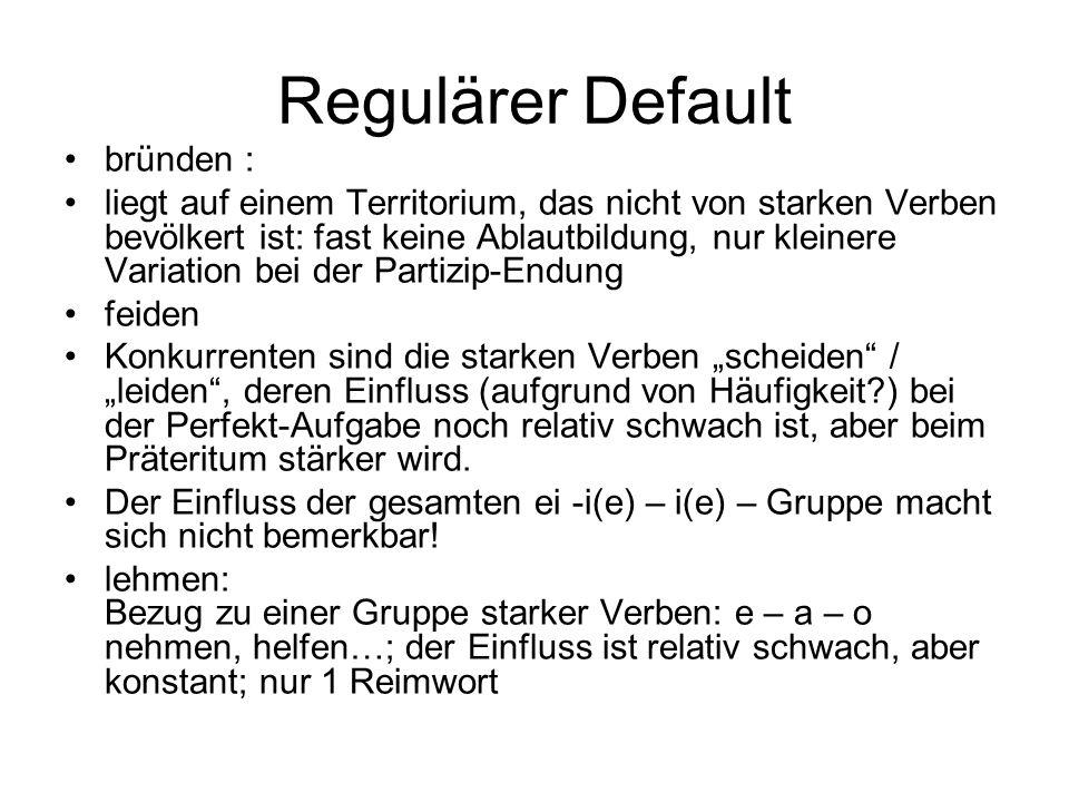 Regulärer Default bründen : liegt auf einem Territorium, das nicht von starken Verben bevölkert ist: fast keine Ablautbildung, nur kleinere Variation