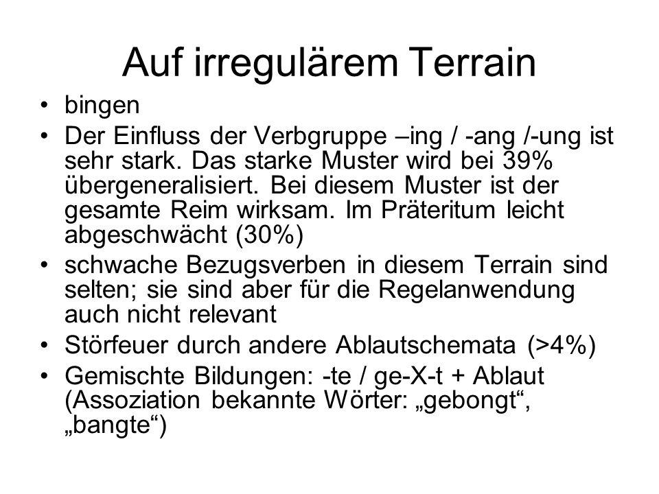 Auf irregulärem Terrain bingen Der Einfluss der Verbgruppe –ing / -ang /-ung ist sehr stark. Das starke Muster wird bei 39% übergeneralisiert. Bei die