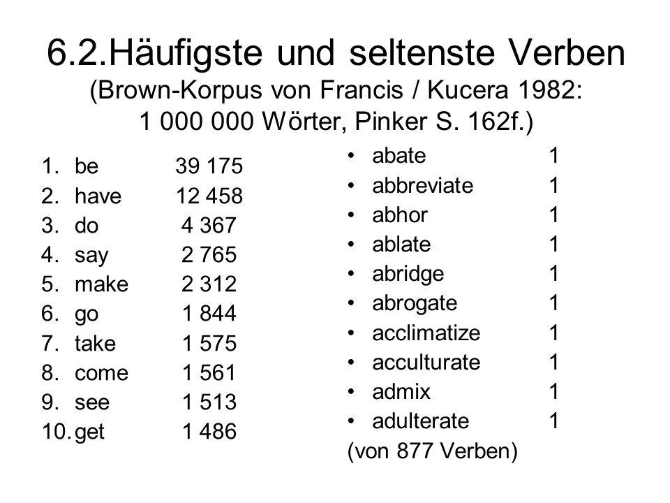 6.2.Häufigste und seltenste Verben (Brown-Korpus von Francis / Kucera 1982: 1 000 000 Wörter, Pinker S. 162f.) 1.be 39 175 2.have12 458 3.do 4 367 4.s