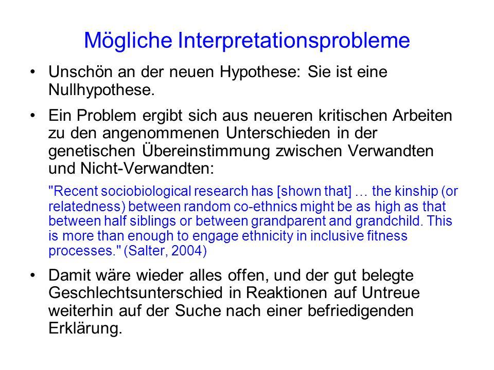 Mögliche Interpretationsprobleme Unschön an der neuen Hypothese: Sie ist eine Nullhypothese.