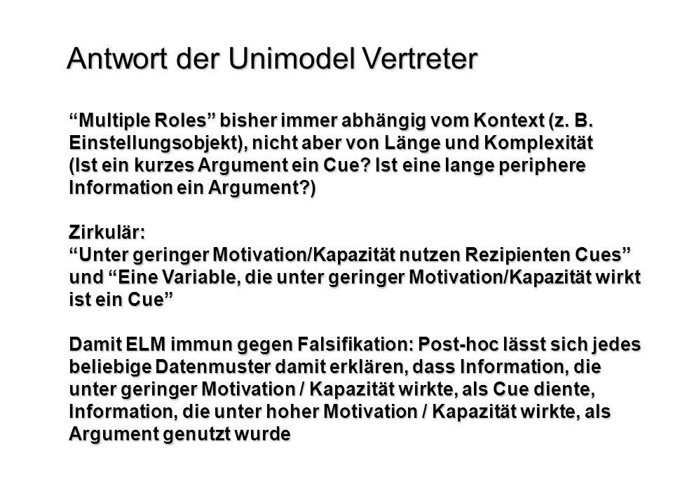 Antwort der Unimodel Vertreter Multiple Roles bisher immer abhängig vom Kontext (z. B. Einstellungsobjekt), nicht aber von Länge und Komplexität (Ist