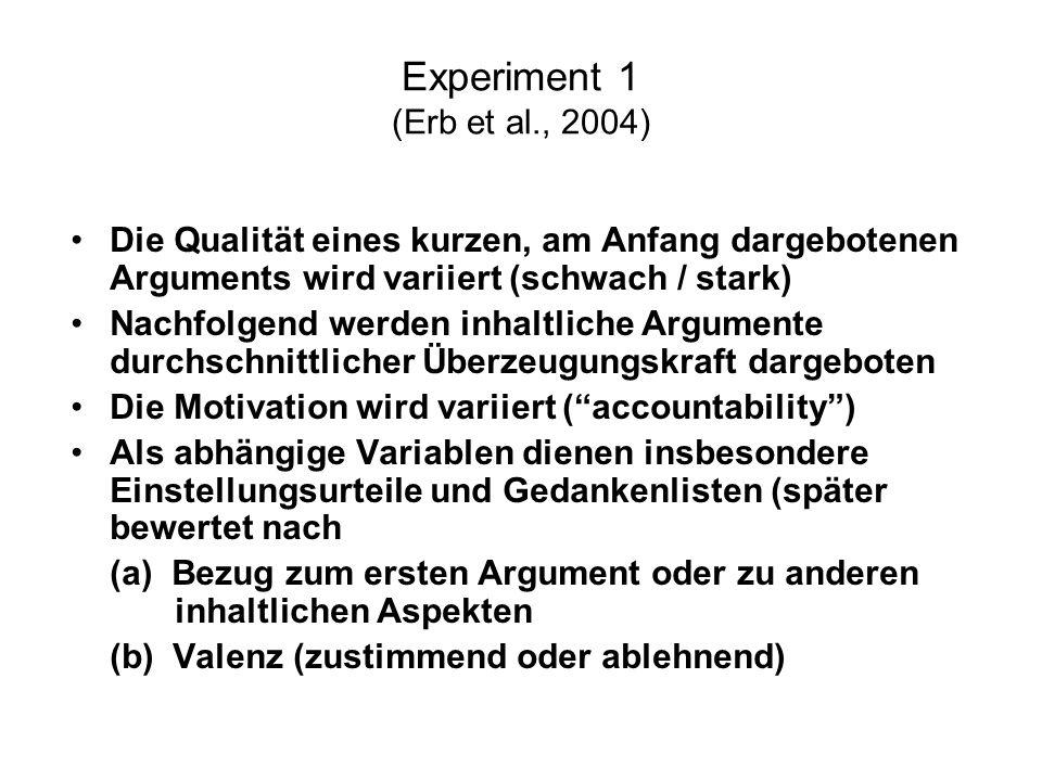 Experiment 1 (Erb et al., 2004) Die Qualität eines kurzen, am Anfang dargebotenen Arguments wird variiert (schwach / stark) Nachfolgend werden inhaltl