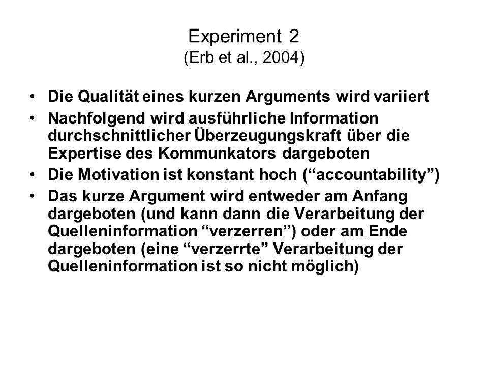 Experiment 2 (Erb et al., 2004) Die Qualität eines kurzen Arguments wird variiert Nachfolgend wird ausführliche Information durchschnittlicher Überzeu