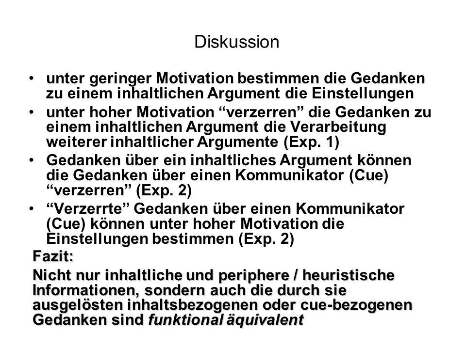 Diskussion unter geringer Motivation bestimmen die Gedanken zu einem inhaltlichen Argument die Einstellungen unter hoher Motivation verzerren die Geda