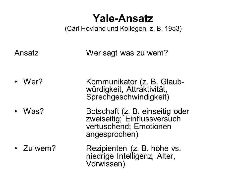 Yale-Ansatz (Carl Hovland und Kollegen, z. B. 1953) AnsatzWer sagt was zu wem? Wer?Kommunikator (z. B. Glaub- würdigkeit, Attraktivität, Sprechgeschwi