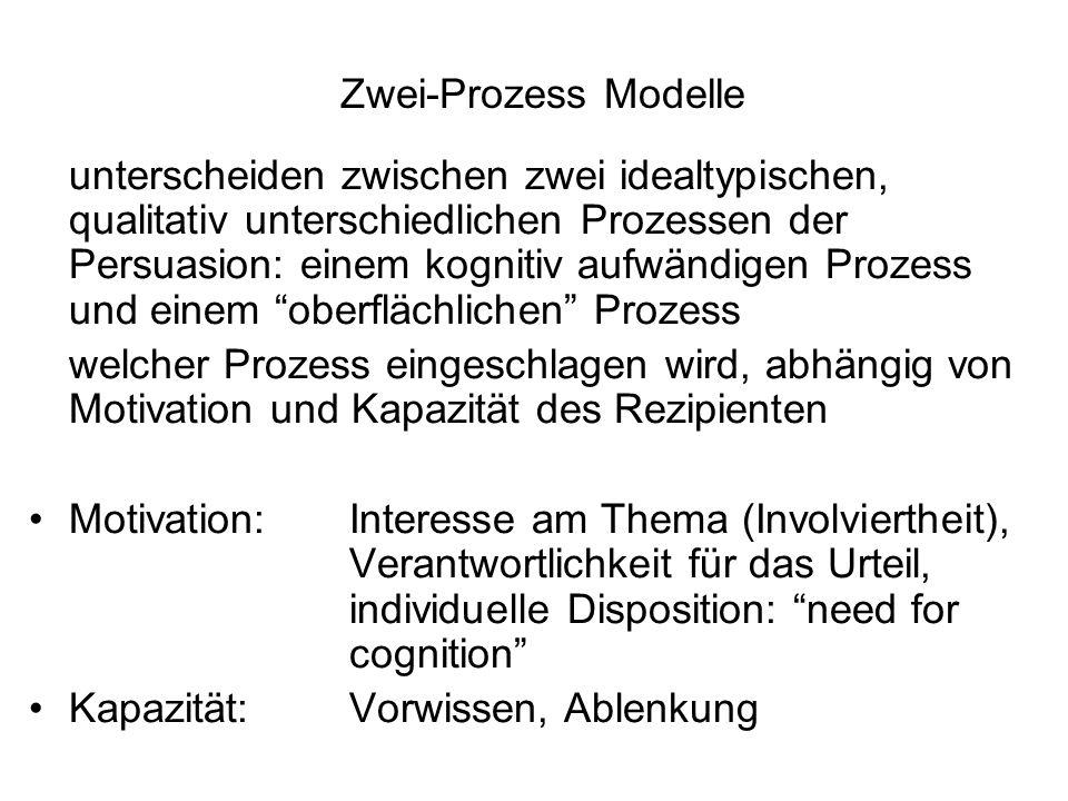 Zwei-Prozess Modelle unterscheiden zwischen zwei idealtypischen, qualitativ unterschiedlichen Prozessen der Persuasion: einem kognitiv aufwändigen Pro